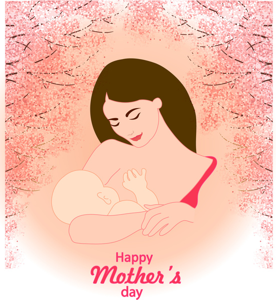 mothers day card with mother and son illustration