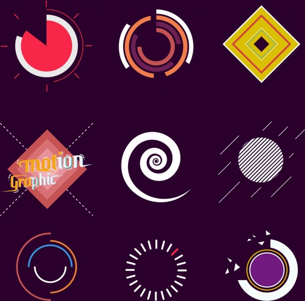 Motion design elements various flat colored shapes isolation