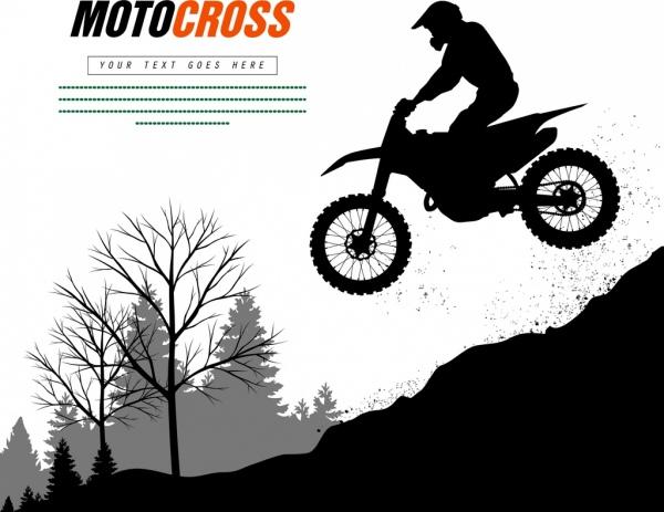 motorbike advertisement racer silhouette decoration