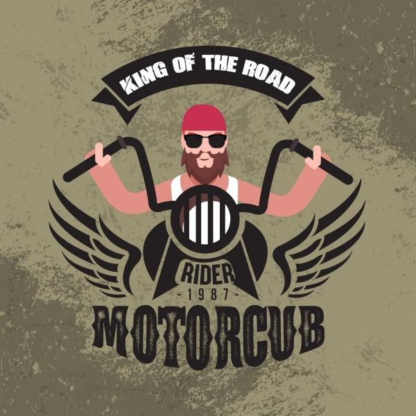 motorbike banner racer texts wings decoration vintage design