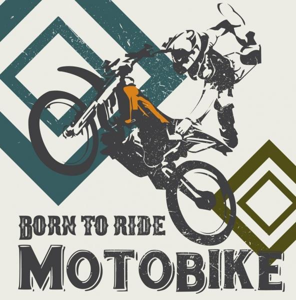 motorbike race banner performing racer icon retro design