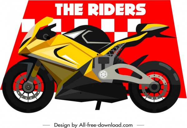 Motorbike Race Banner Template Modern Bike Icon Decor Free Vector In