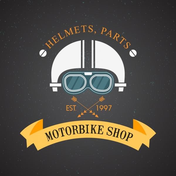 Motorbike Shop Logo Helmet Ribbon Arrow Icons Decor Free Vector In