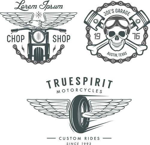 motorcycle logos creative retro vectors