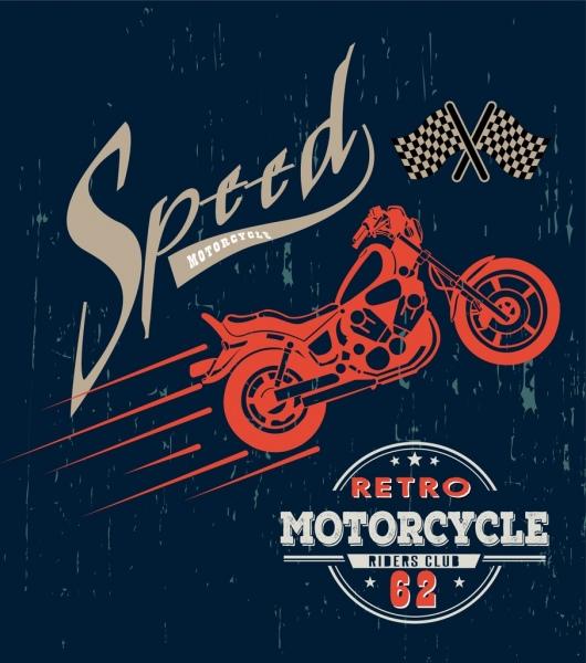 motorcycle race poster dark grunge vintage design
