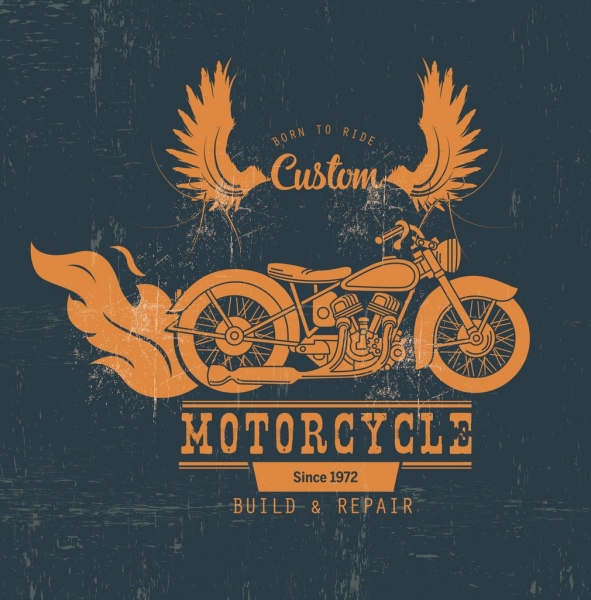 motorcycle shop advertisement retro design wings fire icons