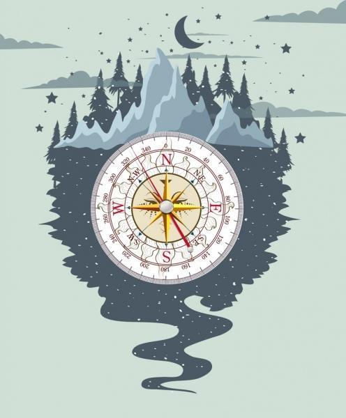 mountain adventure background nature compass icons decor