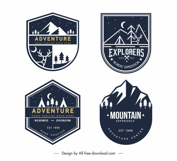 mountain adventure labels templates dark classic sketch