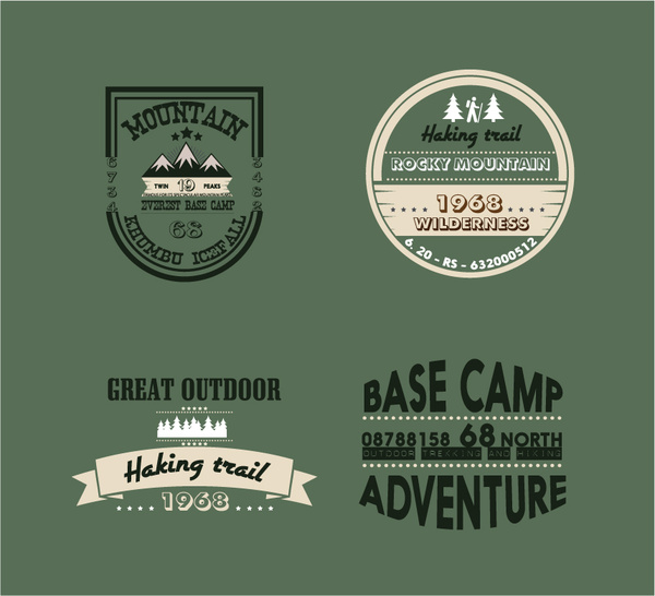 mountain adventures logos collection in vintage design