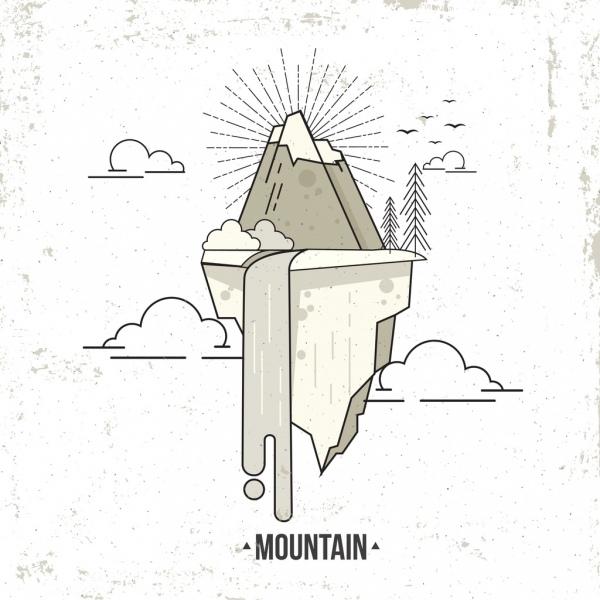 mountain background black white sketch