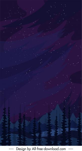 mountain background night sky sketch dark classic