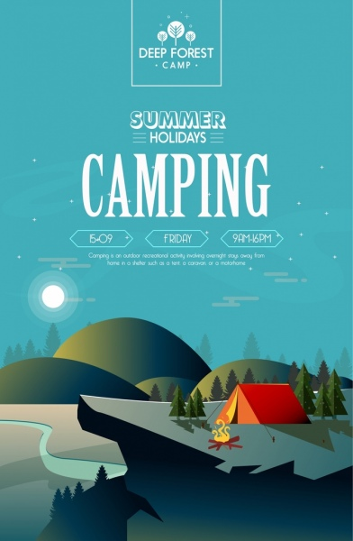 mountain camp poster tent mount moonlight icons decor