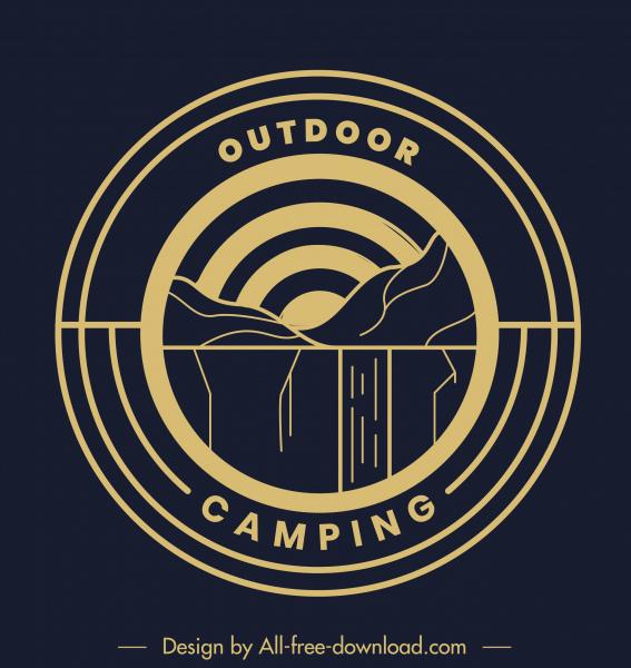 mountain camping logotype flat circle classical design