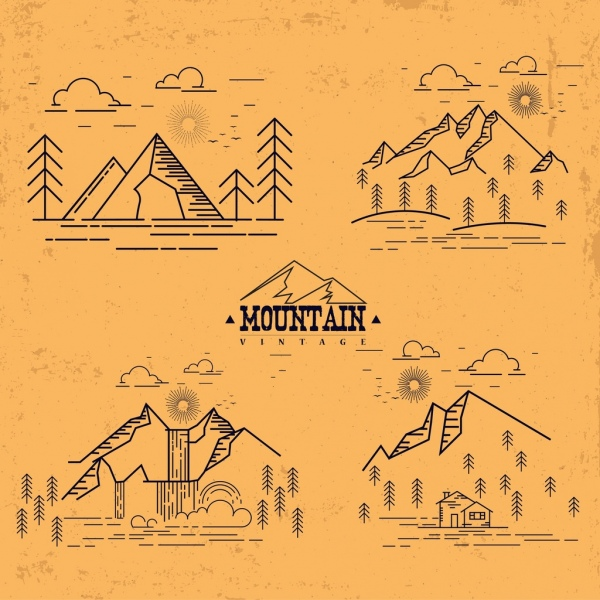 mountain icon collection various vintage sketch