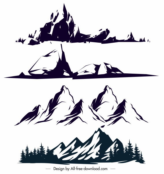 mountain icons black white classical handdrawn sketch