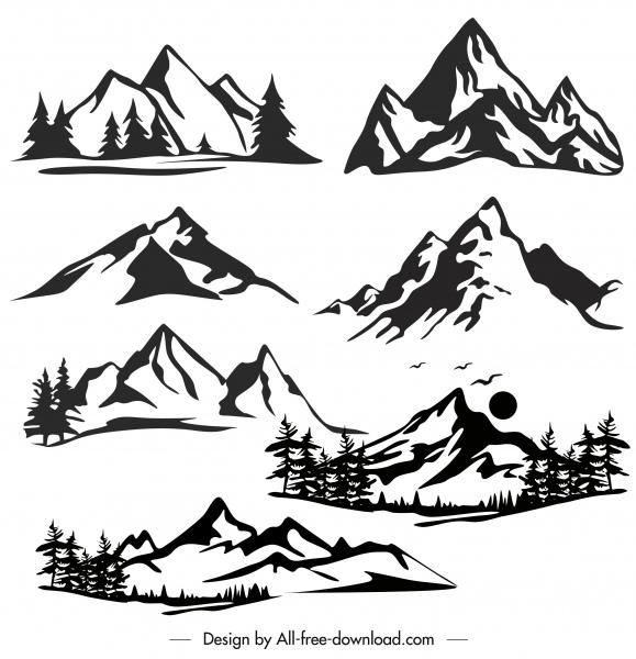 mountain icons black white handdrawn sketch