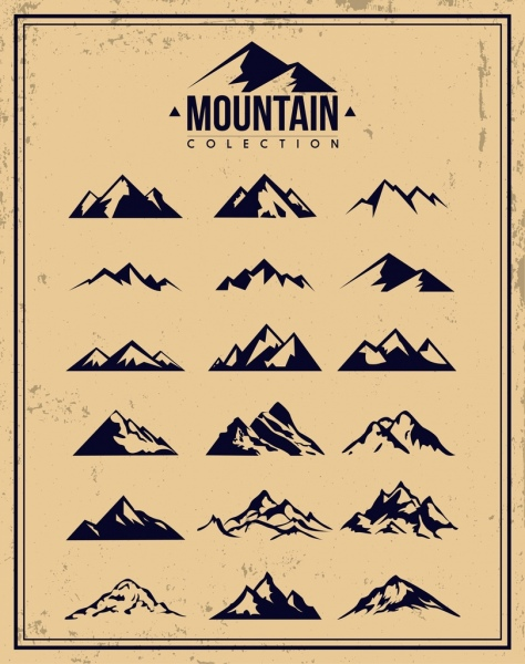 Mountain Icons Collection Retro Design Various Shapes Sketch Free