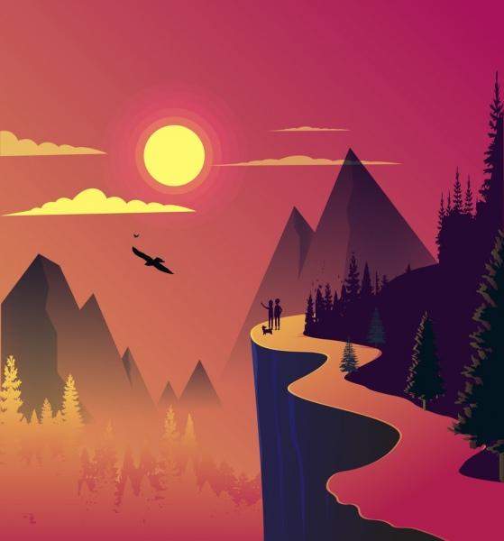 Landscape Illustration Vector Free: Mountain Landscape Background Colored Cartoon Design Sun