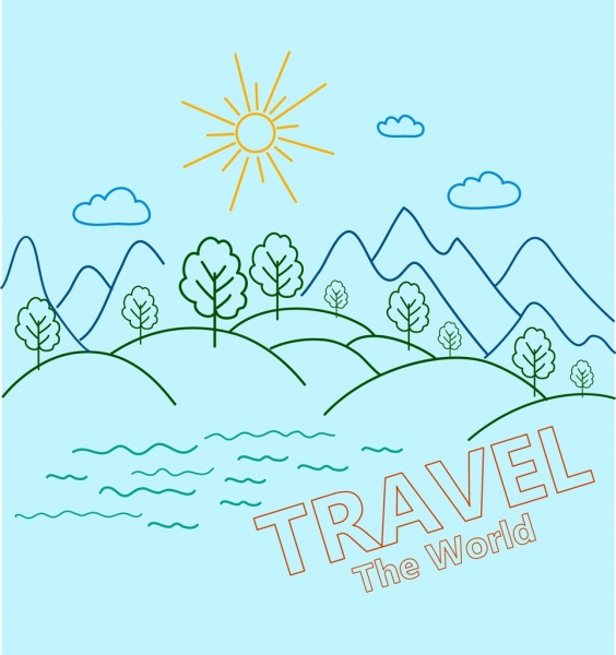 mountain landscape background handdrawn curved lines sketch