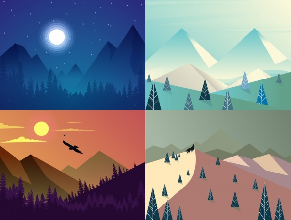 mountain landscape background sets multicolored day night design
