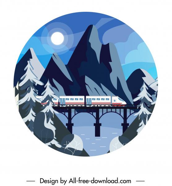 mountain landscape background train bridge moonlight sketch