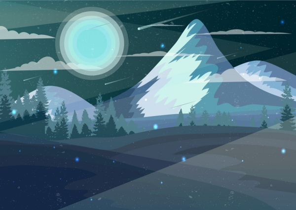 mountain landscape drawing moonlight scene colored cartoon