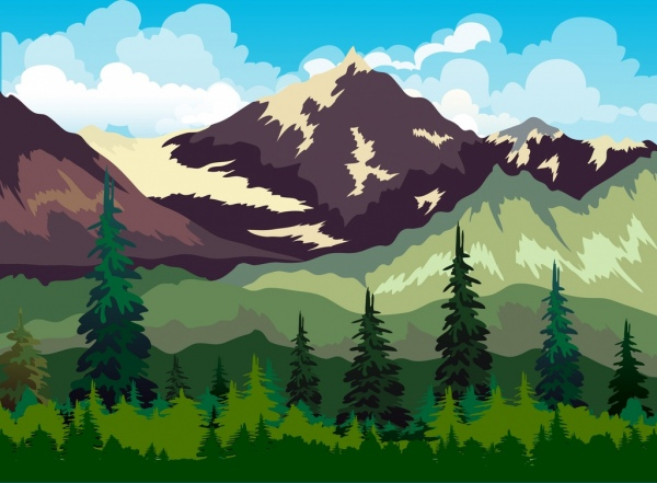 mountain landscape drawing multicolored cartoon design