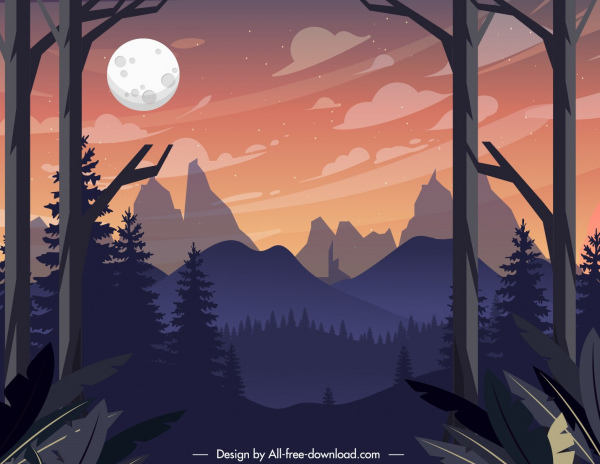 mountain landscape painting night time theme colorful classic