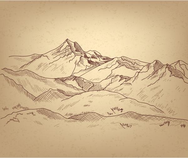mountain landscape sketch handdrawn style