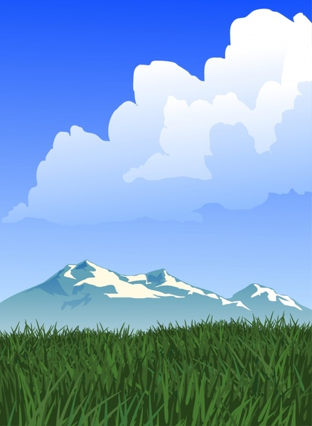 landscape painting mountain meadow cloud icons cartoon design