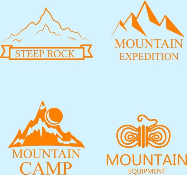 mountain logo collection various colored sketch