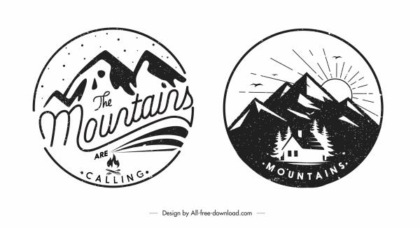 mountain logo templates black white retro design