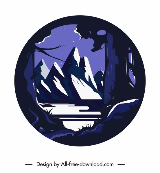 mountain scene background dark classic decor circle isolation