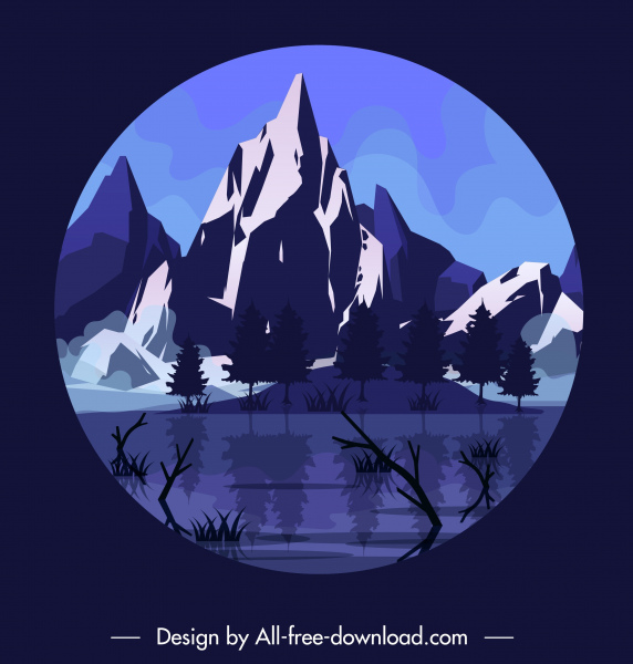mountain scenery background dark colored classic circle isolation