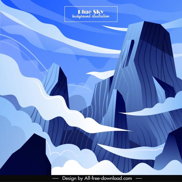 mountain sky scene background colored cartoon design