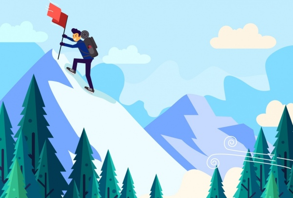 mountaineering background peak flag climber icons cartoon design