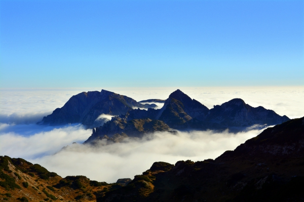 white cloud scape on high mountains