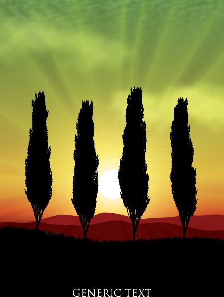 mountains with sunset beautiful background vector