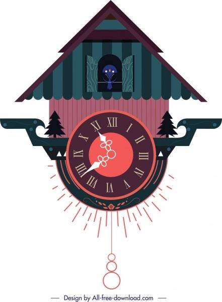 mounted clock template nature theme dark classical design