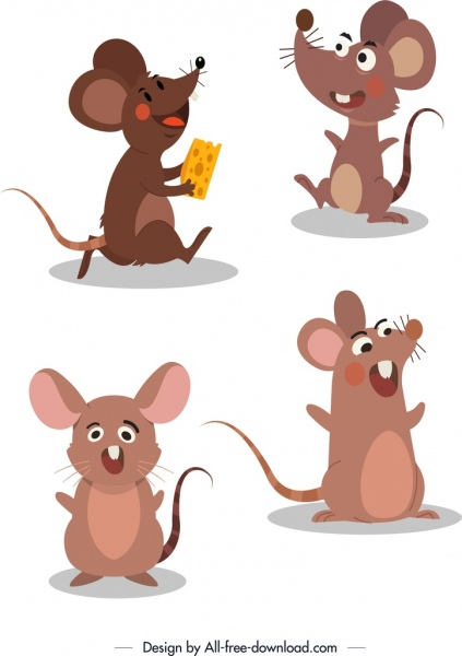 mouse icons cute stylized cartoon characters