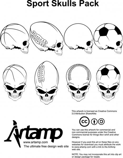 skulls icons sports balls sketch black white design