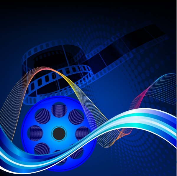 movie background dark blue design colorful curves ornament