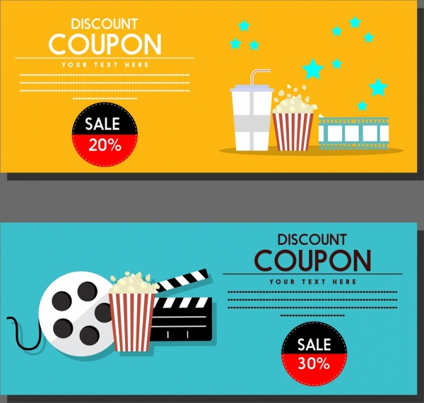 Movie Discount Coupon Templates Colored Symbols Icons Ornament Free