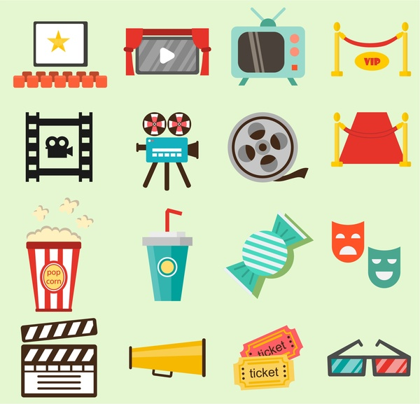movie film icons illustration with colored flat style