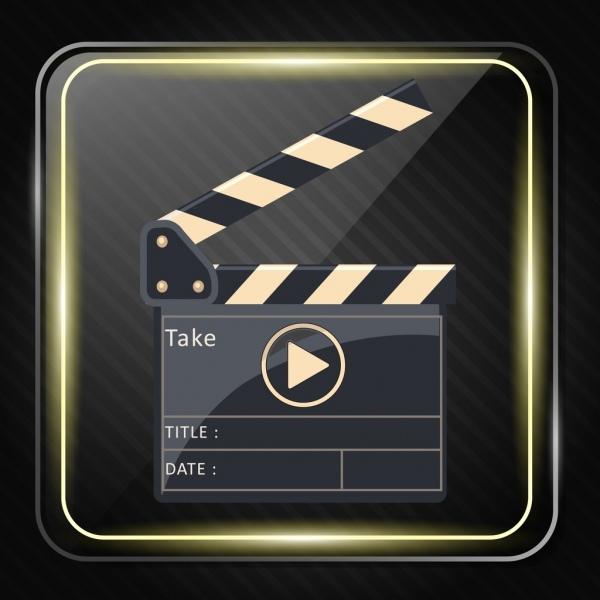 movie play background shiny flat square design