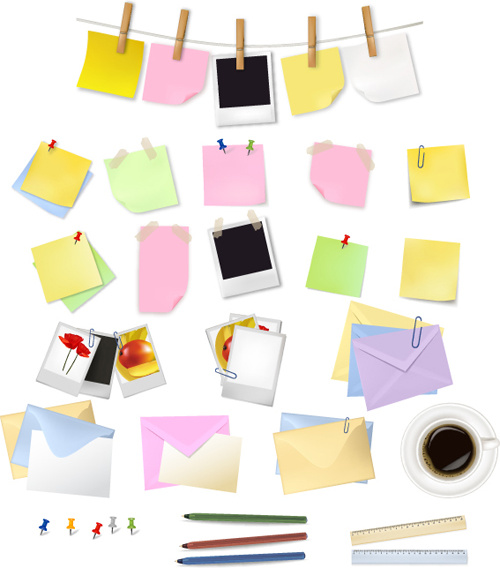 multicolor message paper and paper clip vector