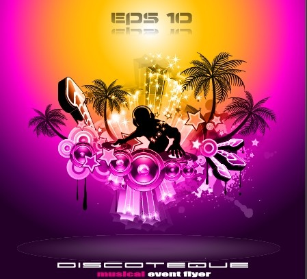 multicolor of disco party flyer design vector free vector in