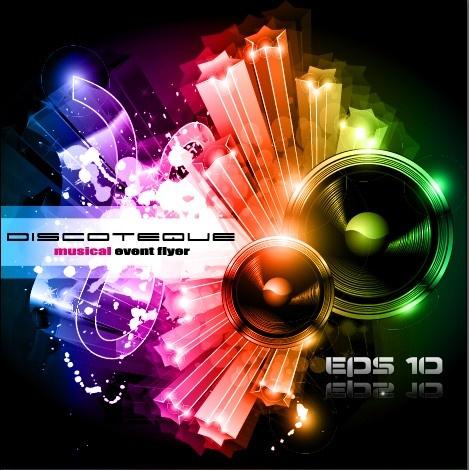 multicolor of disco party flyer design vector free vector in