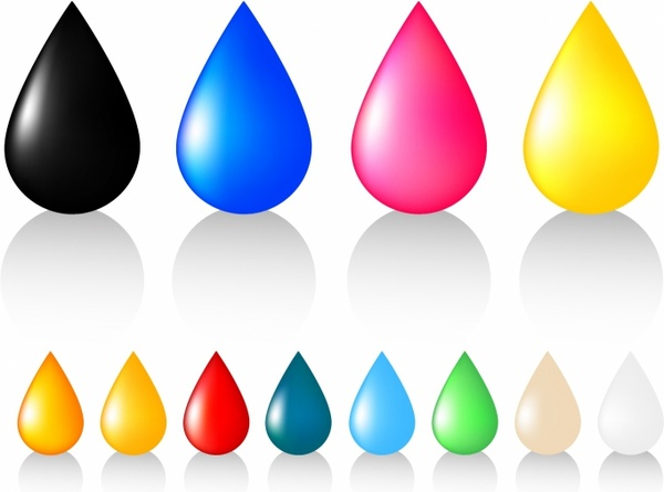 Multicolored drops.