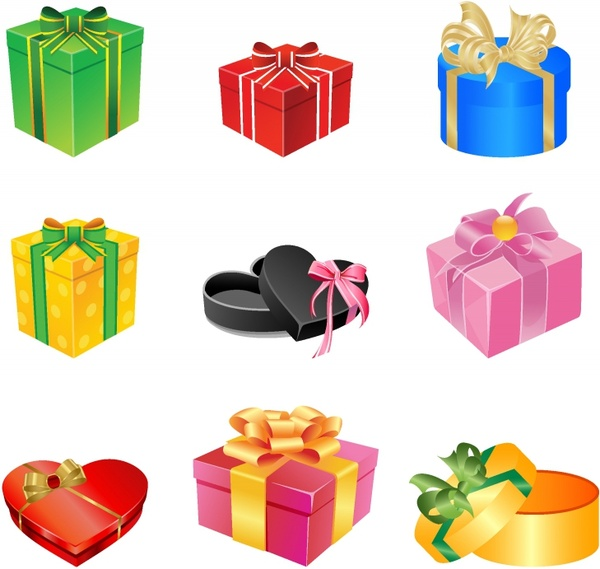 Multicolored gift boxes with bows and ribbons